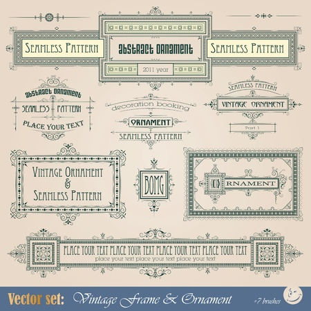 Vintage frame, ornament and element for decoration and design Stock Vector - 11530420