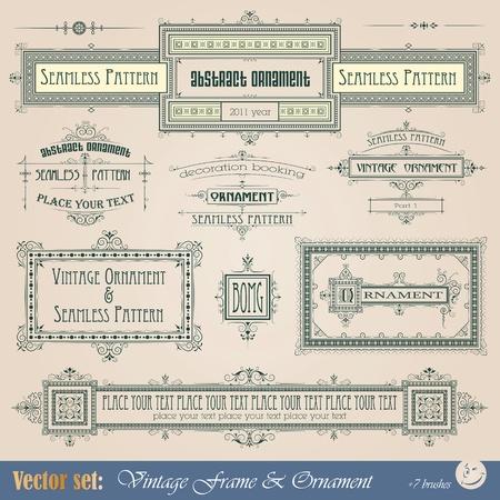certificate frame: Vintage frame, ornament and element for decoration and design