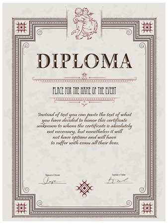 Vintage frame, certificate or diploma template Stock Vector - 11588403