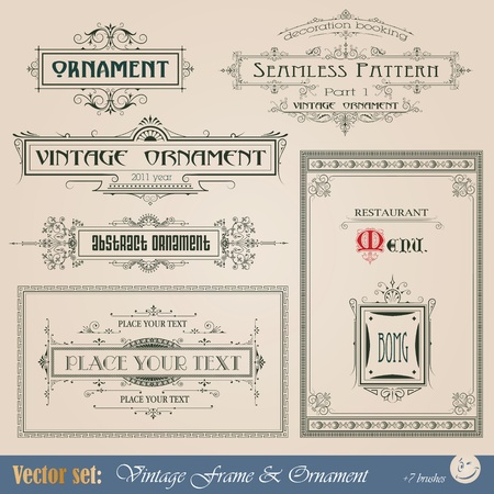 Vintage frame, ornament and element for decoration and design