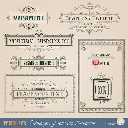 calligraphique: Vintage frame, ornement et �l�ment de d�coration et de design Illustration
