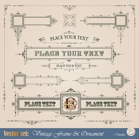 calligraphy frame: Marco de �poca, adornos y elementos para la decoraci�n y el dise�o