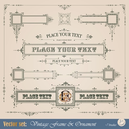scroll border: Vintage frame, ornament and element for decoration and design