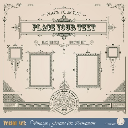 Vintage frame, ornament and element for decoration and design Vector