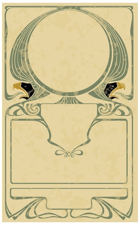 Abstract framework from the bound lines in style art-nouveau