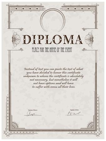 diploma: Marco de la vendimia, un certificado o diploma de plantilla Vectores