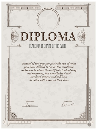 Vintage frame, certificate or diploma template Vettoriali