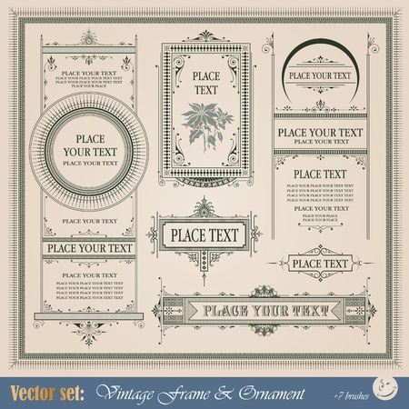 bordure de page: Cadre, frontière, ornement et élément de style vintage Illustration