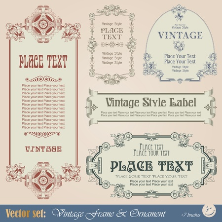 Frame, border, ornament and element in vintage style Vector
