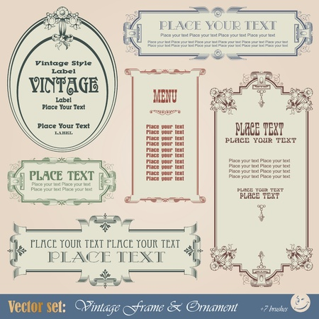 Frame, border, ornament and element in vintage style Фото со стока - 11877709
