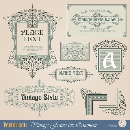 Frame, border, ornament and element in vintage style Imagens - 12062484