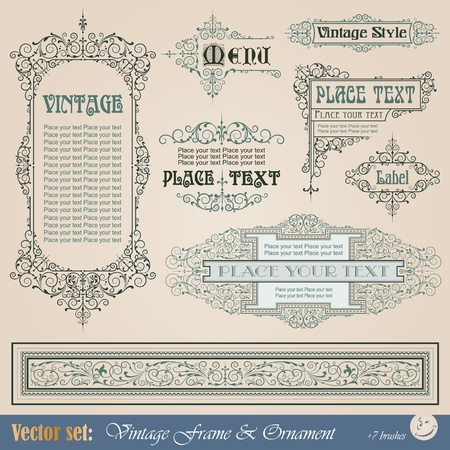 Frame, border, ornament and element in vintage style Фото со стока - 12062502