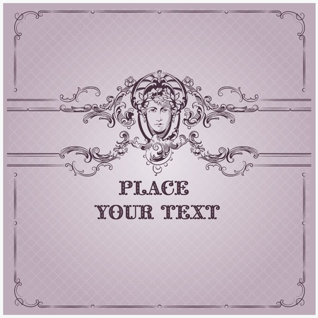 Luxury vector background with border in rococo style Vector