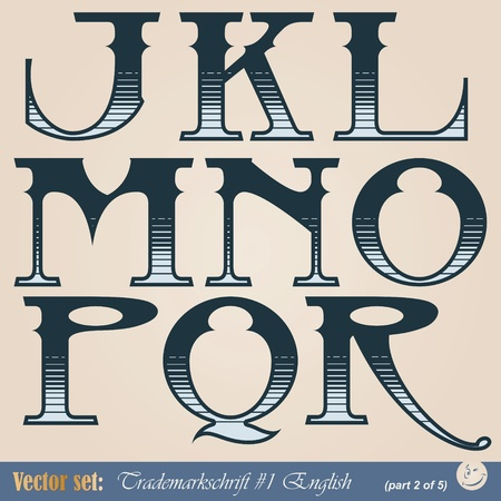 Set of vector letters of the English alphabet in the style of the old signs