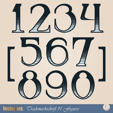 Set of vector digits of the alphabet in the style of the old signs Vector