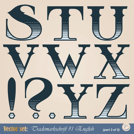 school aged: Set of vector letters of the English alphabet in the style of the old signs