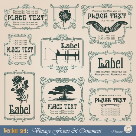 Border style labels on different topics for decoration and design Vettoriali