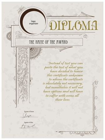 diploma template: Vintage frame, certificate or diploma template