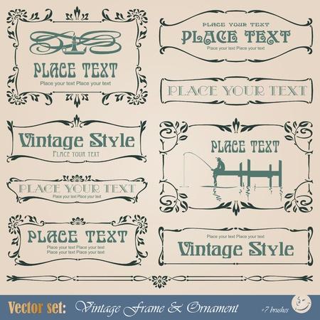 vignette: Cadre, fronti�re, ornement et �l�ment de style vintage Illustration