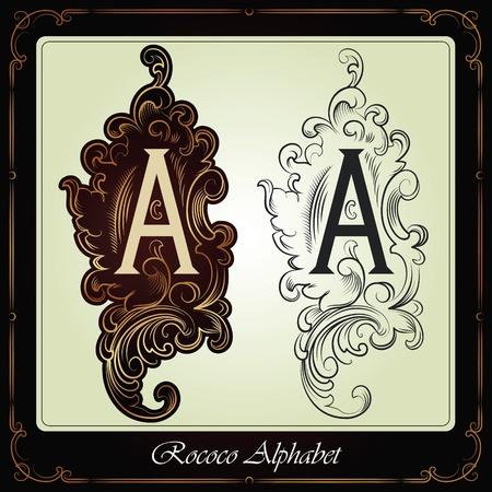 capitales et les initiales dans le style rococo fait à la main sur la base des manuscrits anciens Vecteurs