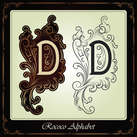 capitals and initials in the rococo style hand-made on the basis of ancient manuscripts Stock Vector - 13120203