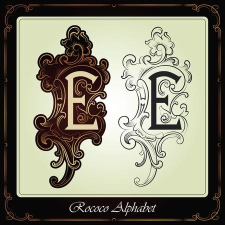 barok ornament: hoofdsteden en initialen in de rococo stijl met de hand gemaakt op basis van de oude manuscripten