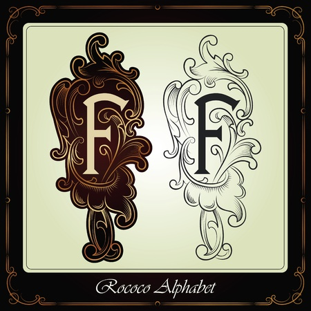 capitals and initials in the rococo style hand-made on the basis of ancient manuscripts Stock Vector - 13120201