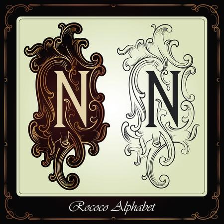 capitales et les initiales dans le style rococo fait à la main sur la base des manuscrits anciens