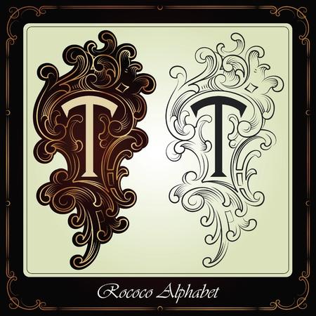 tipografia: capitales e iniciales en el estilo rococ� hecho a mano, sobre la base de los manuscritos antiguos Vectores