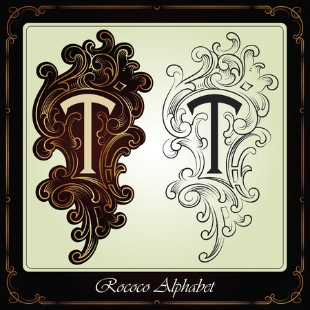capitals and initials in the rococo style hand-made on the basis of ancient manuscripts Vector