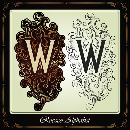capitals and initials in the rococo style hand-made on the basis of ancient manuscripts Stock Vector - 13120231