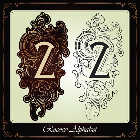 capitals and initials in the rococo style hand-made on the basis of ancient manuscripts Stock Vector - 13120232