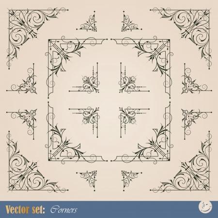 Angolari elementi del telaio per la decorazione e il design Vettoriali