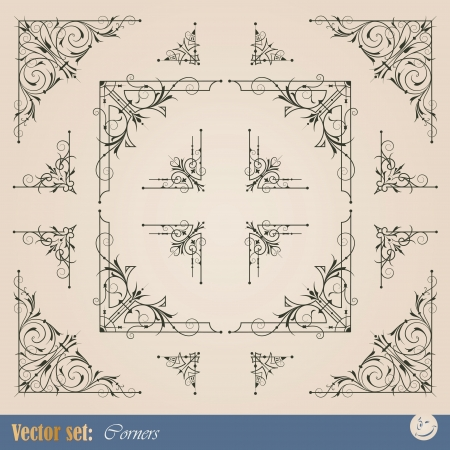 Los elementos del marco de esquina para la decoración y el diseño Ilustración de vector