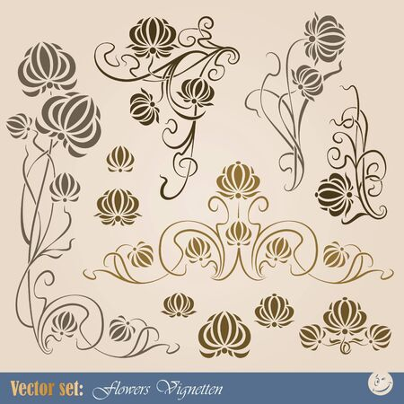 art deco border: set of plant elements for design, creating borders, frames and backgrounds Illustration