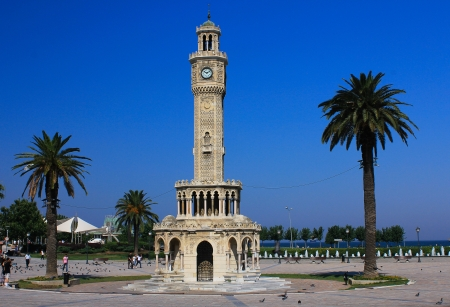 The clock in the historic city of Izmir in Turkey