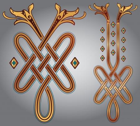 pohanský: Abstract Celtic design pro vaše umělecká díla a tetování - zoomorph motivy Ilustrace