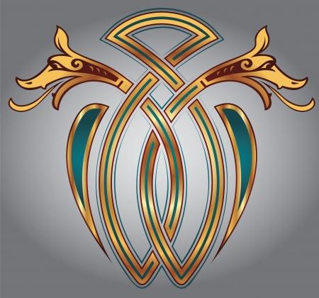 celtico: Disegno astratto celtica per il disegno e tatuaggi - motivi zoomorfe