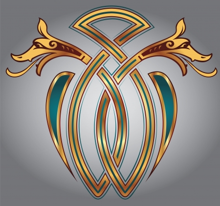Abstract Celtic design for your artwork and tattoos - zoomorph motifs Illustration