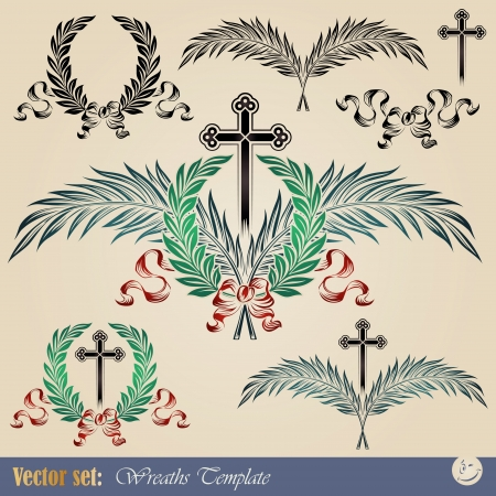 Set of vector wreaths and cross for decoration and design Vector