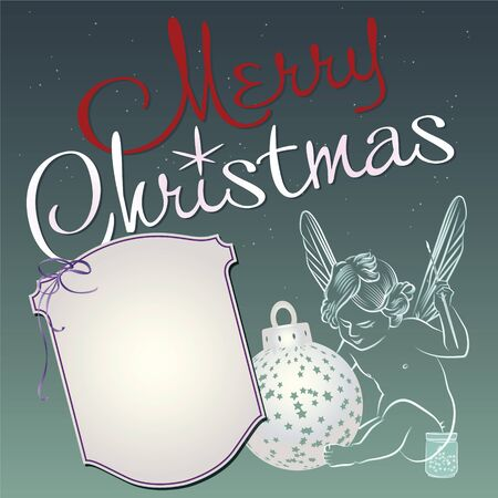 Christmas background with an angel and a place to write congratulations  Vector