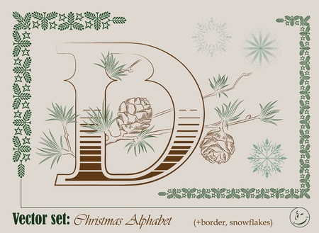 Vector Initials of the English Christmas alphabet for decoration and design Vector