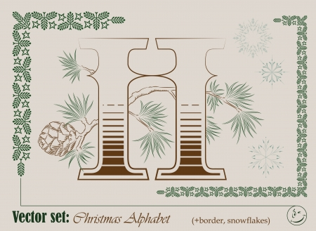 Vector Initials of the English Christmas alphabet for decoration and design Stock Vector - 16588793