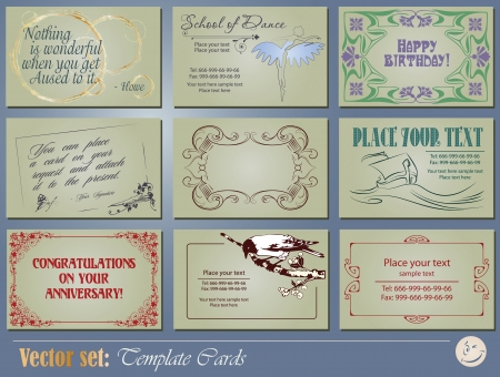 Vector set  Templates business and gift cards for decoration and design Vector