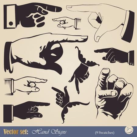 hand holding card: vector set handen - wijzend gebaar in verschillende stijlen Stock Illustratie