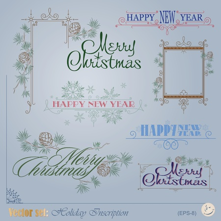 year s: Vector set  Christmas and New Year s Inscription for decoration and design  Illustration