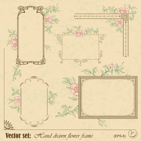 set  Plants and flowers frame and elements for decoration and design Stock Vector - 17186303