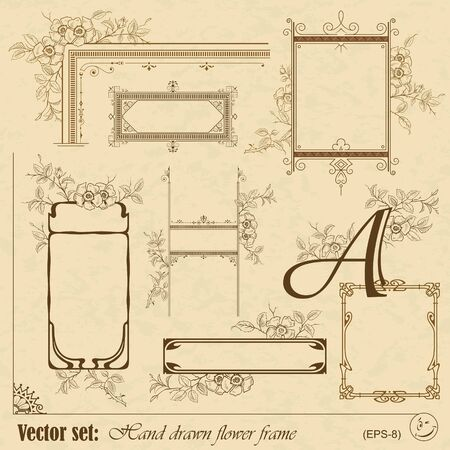 set  Plants and flowers frame and elements for decoration and design  Vector