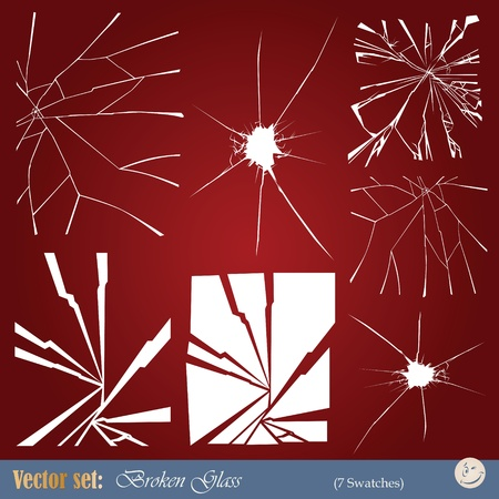 vector set  templates of broken glass to overlay the images  Stock Vector - 17894063