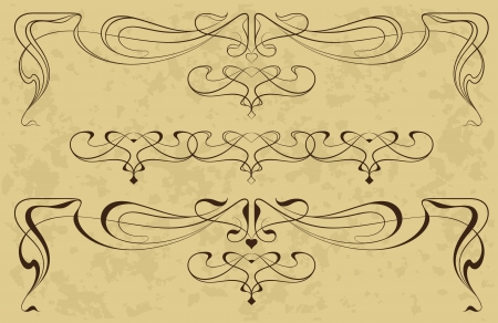 art deco border: Abstract elements from the bound lines in style art-nouveau